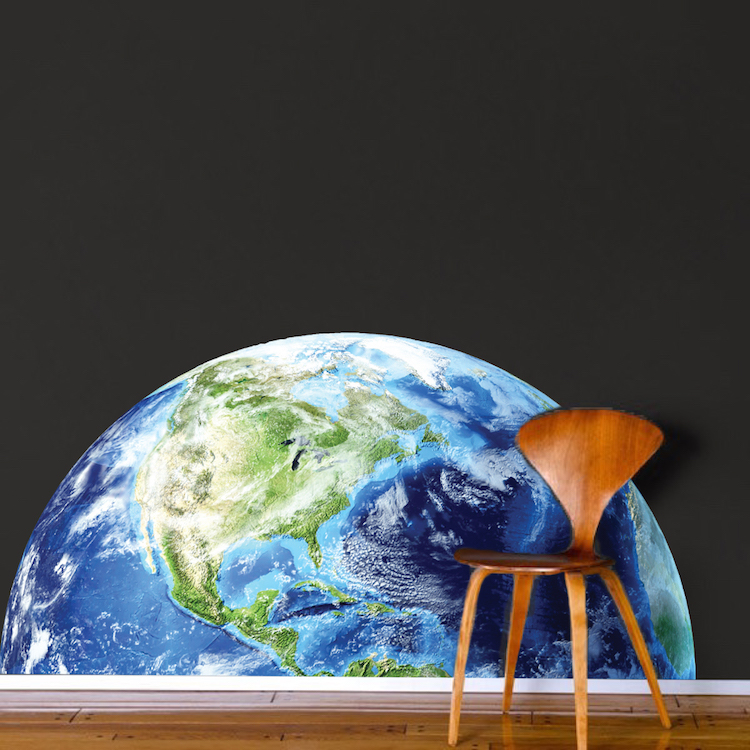 Half earth wall mural decal space wall decal murals for Earth rising wall mural