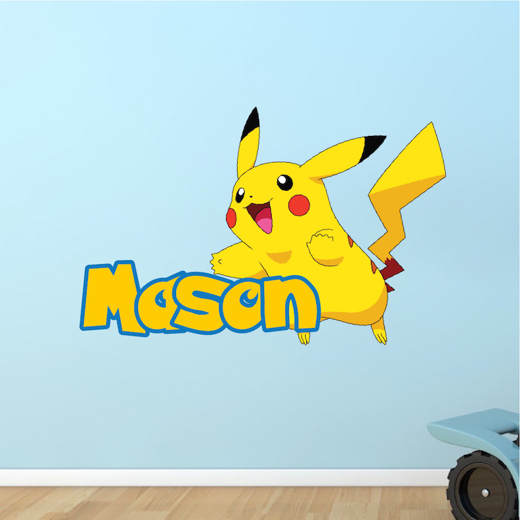 Pokemon Wall Decor kids custom pikachu pokemon name decal - pokemon room themed decor