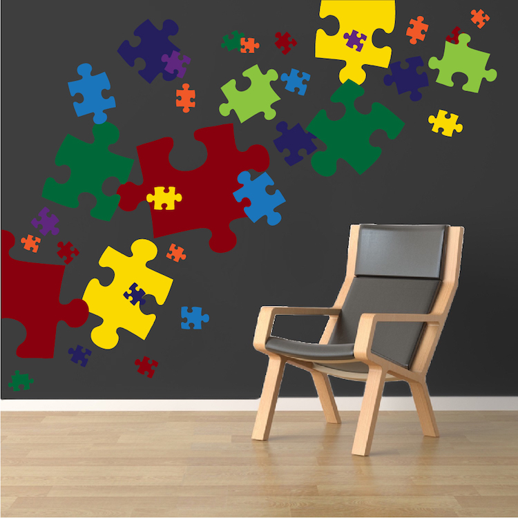 Puzzle Piece Wall Decor puzzle pieces decal - game wall decal murals - primedecals