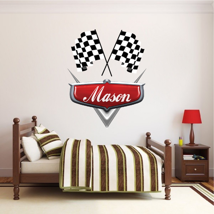Personalized boys race car name decal car wall decals for Cars wall mural sticker