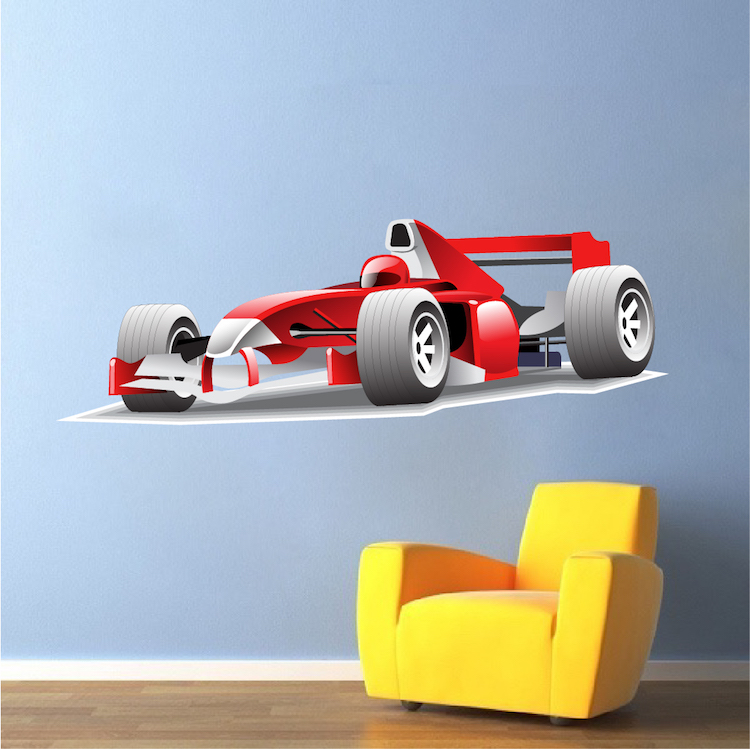 Race car decal sports wall decal murals primedecals for Cars wall mural sticker
