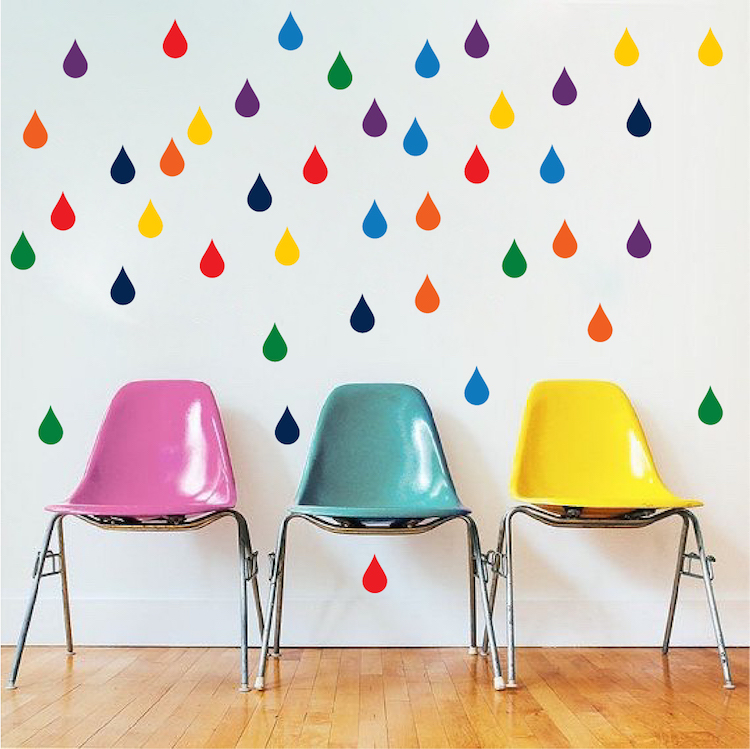 Multi Color Raindrops Wall Decals Nursery Room Murals