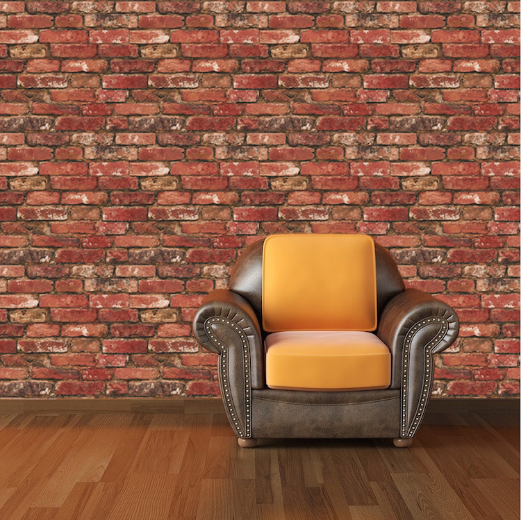 Red bricks wallpaper decal self adhesive brick wallpaper for Brick mural wallpaper