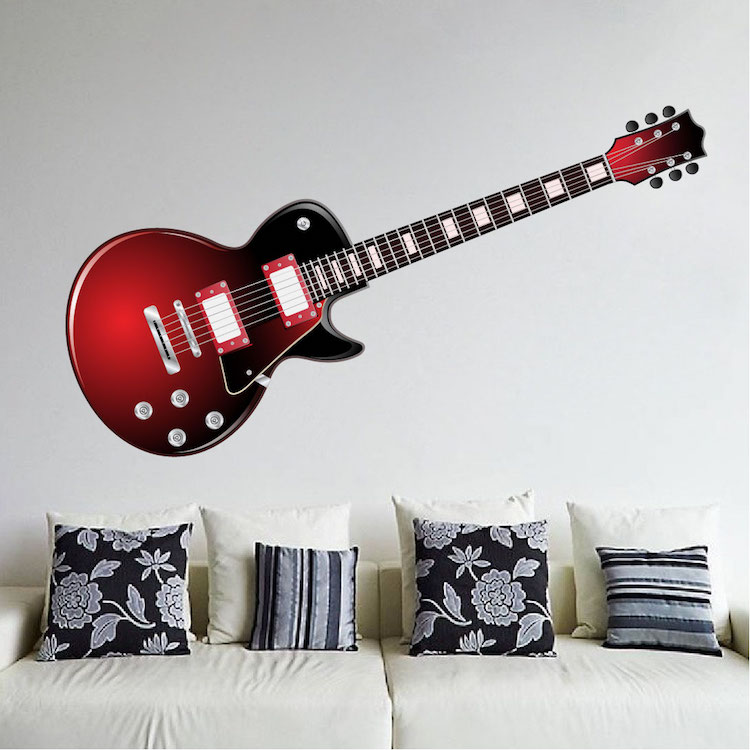 Wall decoration with guitar : Red electric guitar wall mural decal music