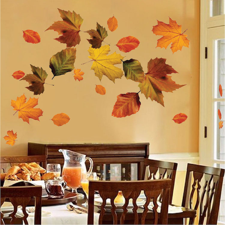 Wall Mural Decal autumn leaves wall mural decal - seasonal wall decal murals