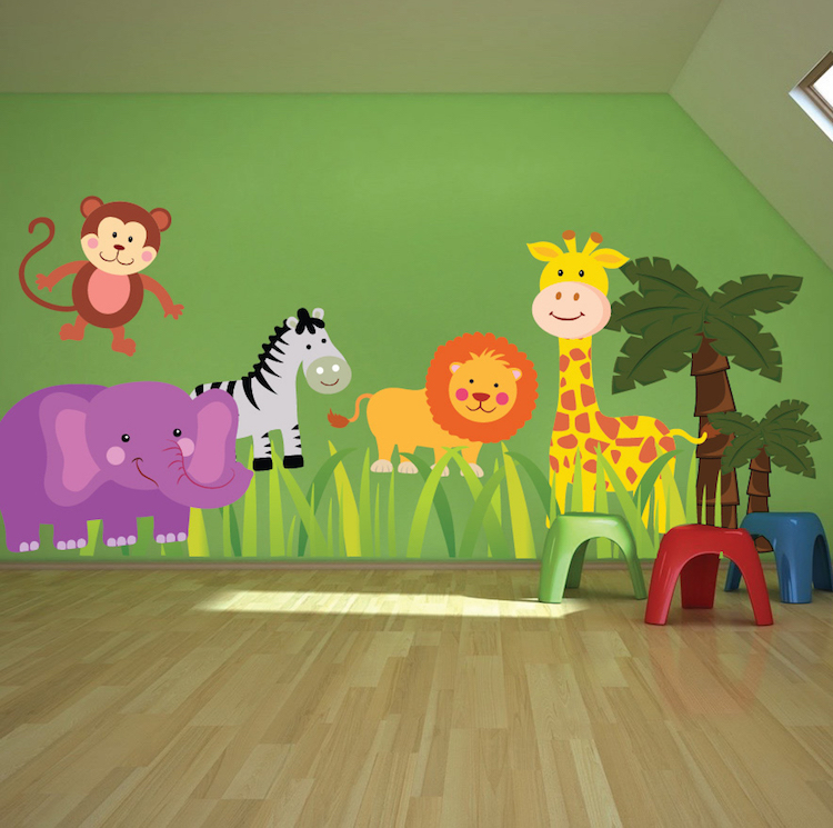 nursery zoo wall decal animal wall decal murals