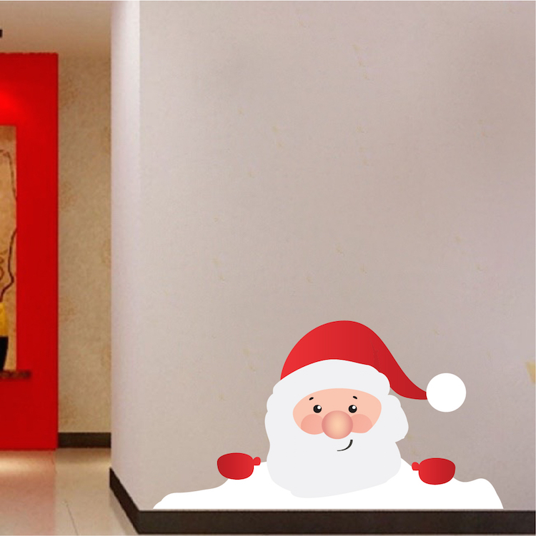 Christmas Window Santa Claus Wall Decal Preview Mural