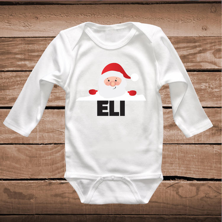 Custom Santa Shirt Tee Santa Peeking Baby Clothes