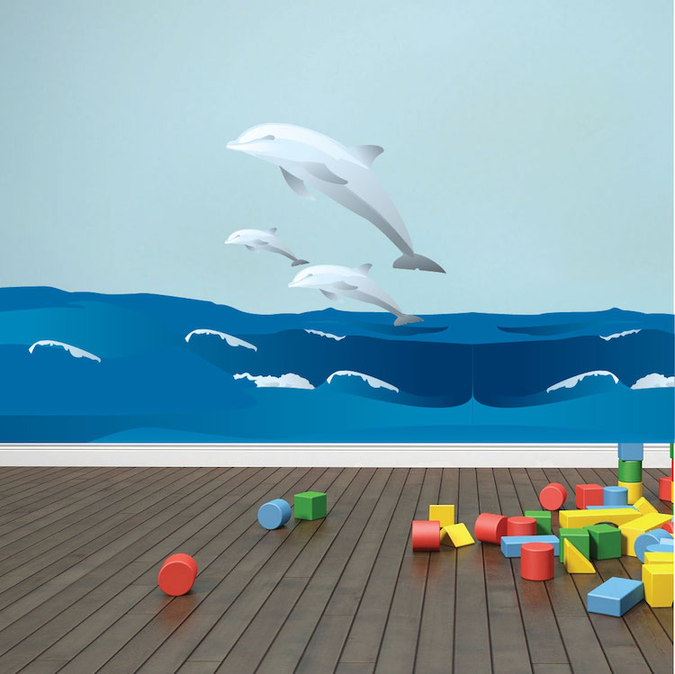 Wall Mural Decals dolphins and waves wall decal - animal wall decal murals - primedecals