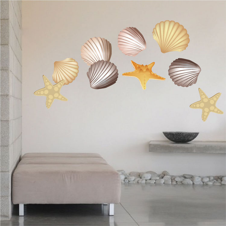 seashells wall mural decals beach wall decal murals wall decal best seashell wall decals seashell vinyl