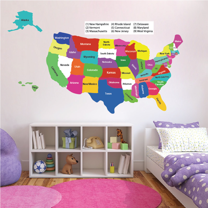 United States Map Wall Decal Educational Wall Decal Murals - Educational wall decals