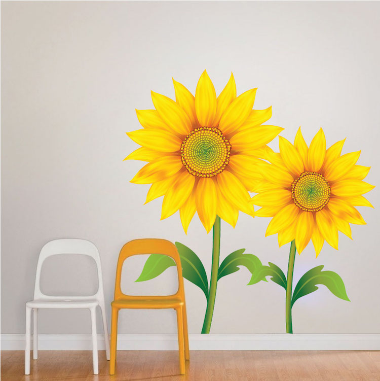 sunflower mural decal flower wall decal murals primedecals. Black Bedroom Furniture Sets. Home Design Ideas