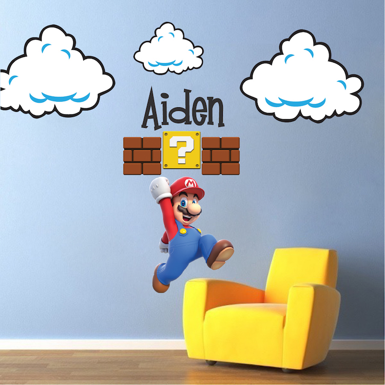 Super Mario Bros Clouds Wall Decal   Bedroom Stickers   Mario Bros For Kids    Video Game Wall Decal Murals | Primedecals Awesome Ideas