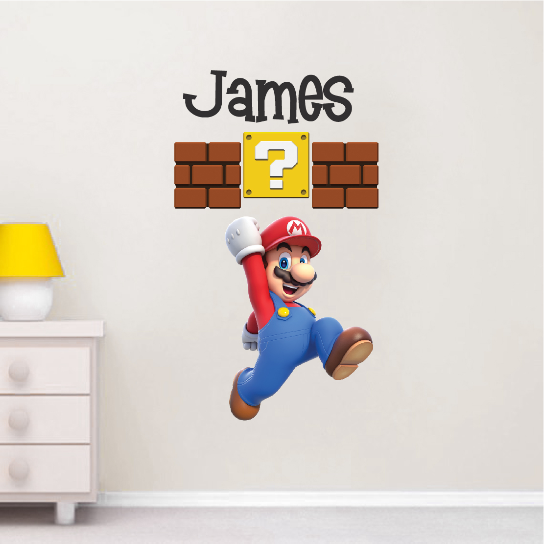 Modern Wall Sticker Mario Personalized Name Decal Super Mario Wall Decal