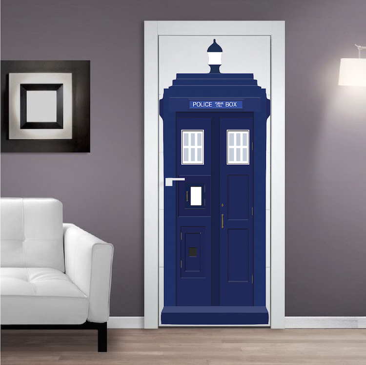 tardis door sticker image is loading dr who tardis phone booth decal wall sticker. Black Bedroom Furniture Sets. Home Design Ideas