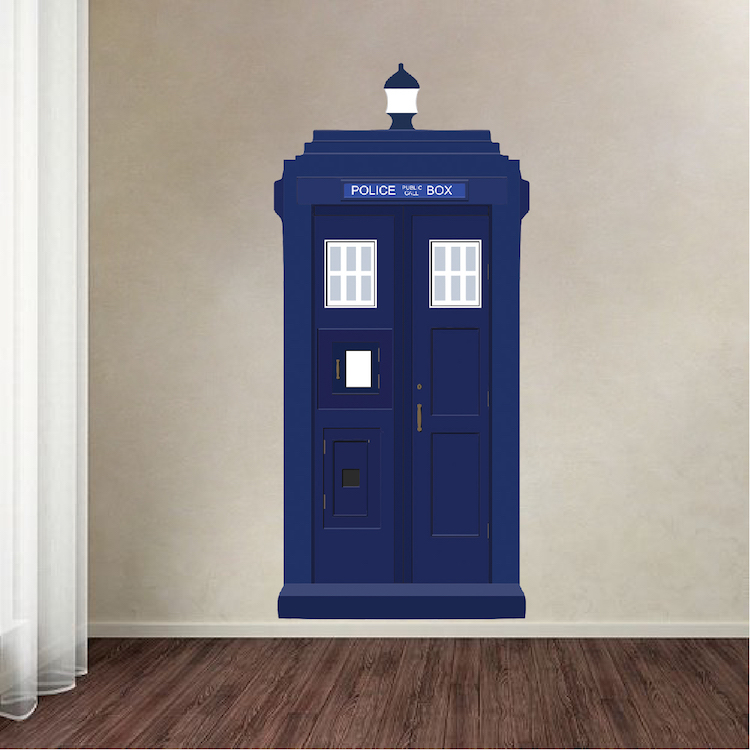 dr who tardis vinyl wall decal tardis wall decal dr who wall design primedecals. Black Bedroom Furniture Sets. Home Design Ideas