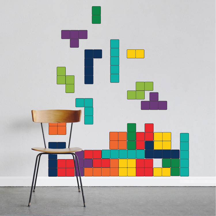 classic tetris wall decal video game decal murals primedecals. Black Bedroom Furniture Sets. Home Design Ideas