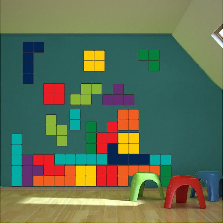 classic tetris wall decal video game decal murals primedecals - Wall Design Decals
