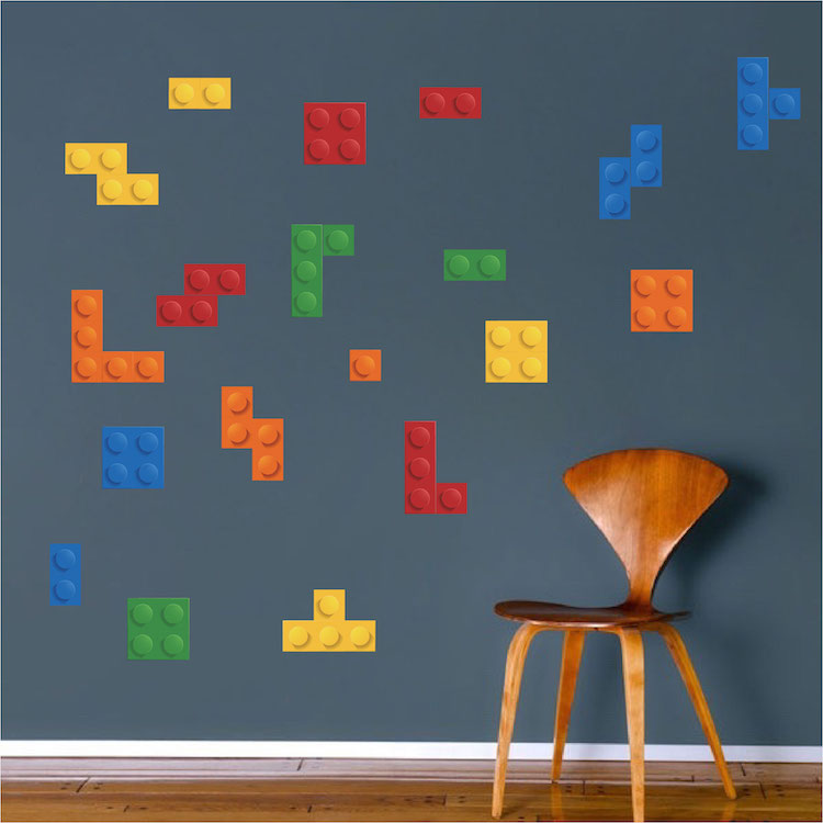 Wall Mural Stickers lego tetris wall decal - kids wall decal murals - primedecals