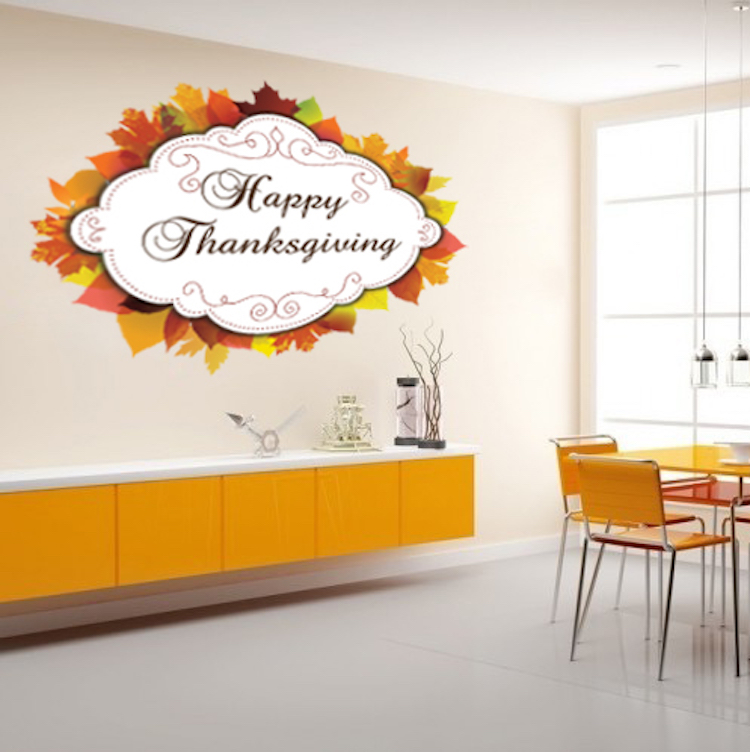 Happy thanksgiving wall mural decal thanksgiving season for Thank you mural