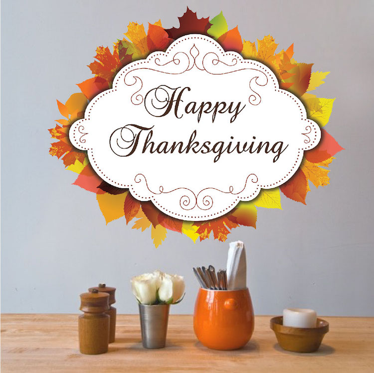 Happy Thanksgiving Wall Mural Decal - Thanksgiving Season Stickers ...