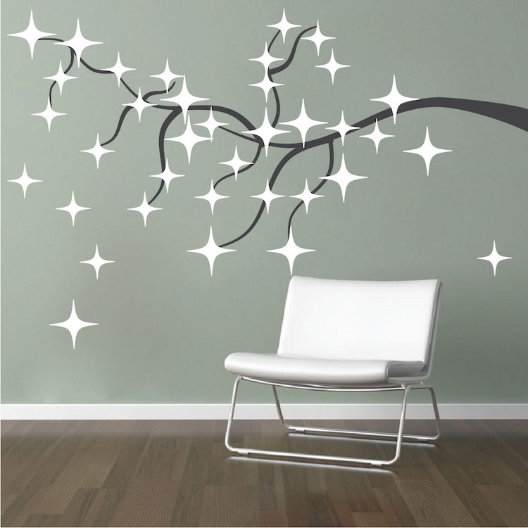 Tree stars wall decals christmas murals primedecals for Star wall decals