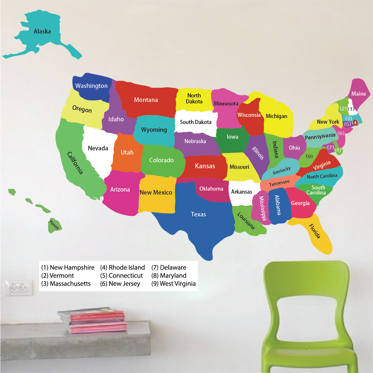 United states map wall decal educational wall decal for Educational mural