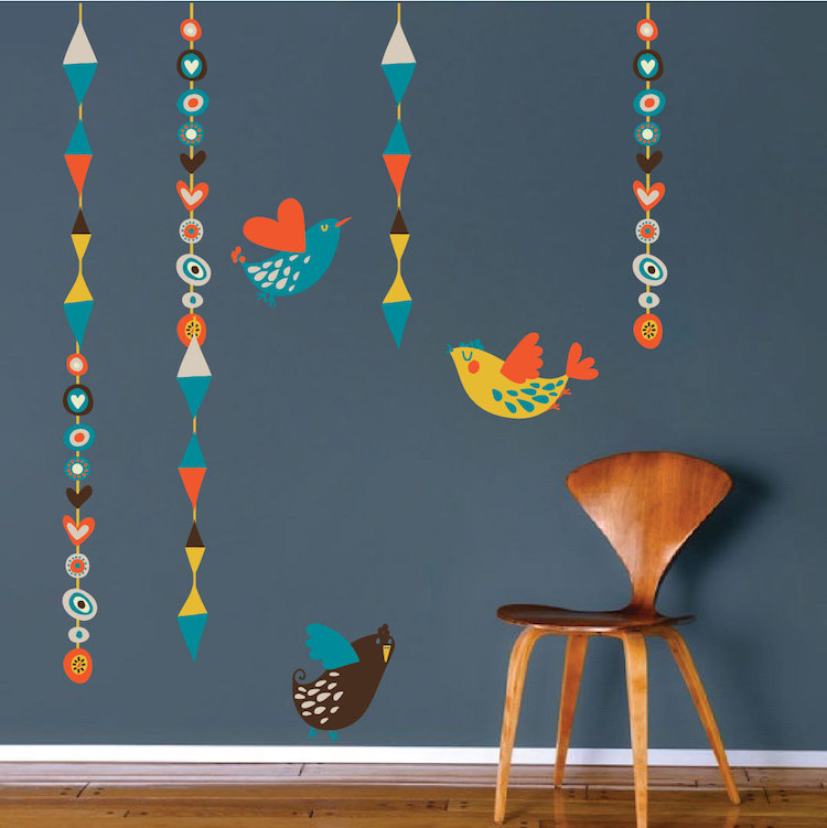 Birds hanging wall decal abstract wall decal murals for Bird wall mural