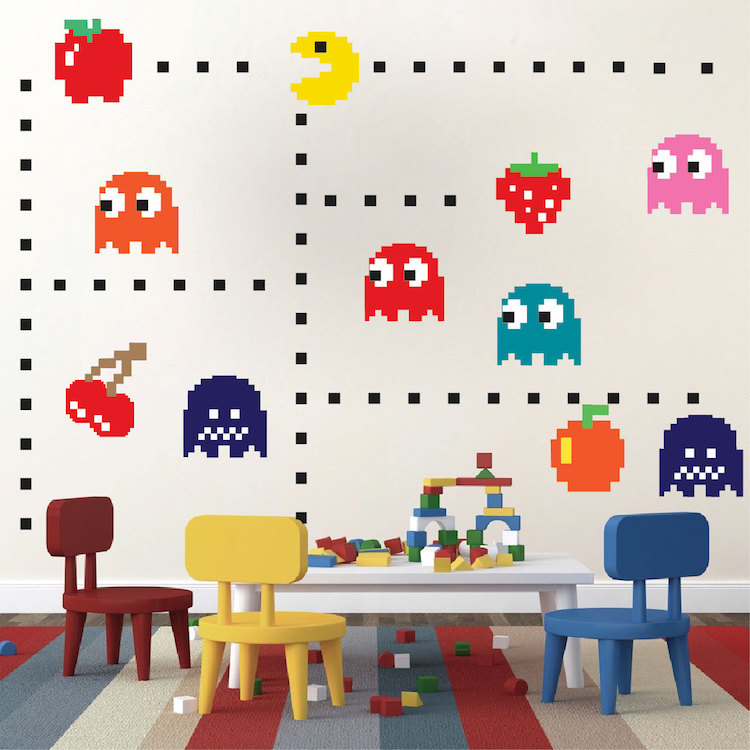 Captivating Pac Man Wall Decal   Video Game Wall Decal Murals   Kids Bedroom DIY Pacman  Stickers   Pacman Wall Murals   Pacman Room Decor   Primedecals