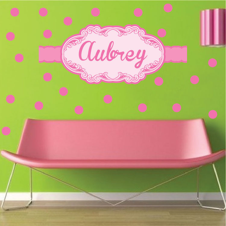 Pink Wall Decals girls custom name wall decal - pink wall stickers for nursery