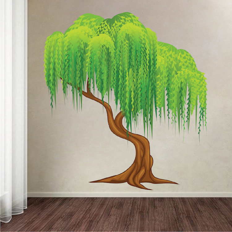 Wall Mural Decal weeping willow tree mural decal - tree wall decals - large tree