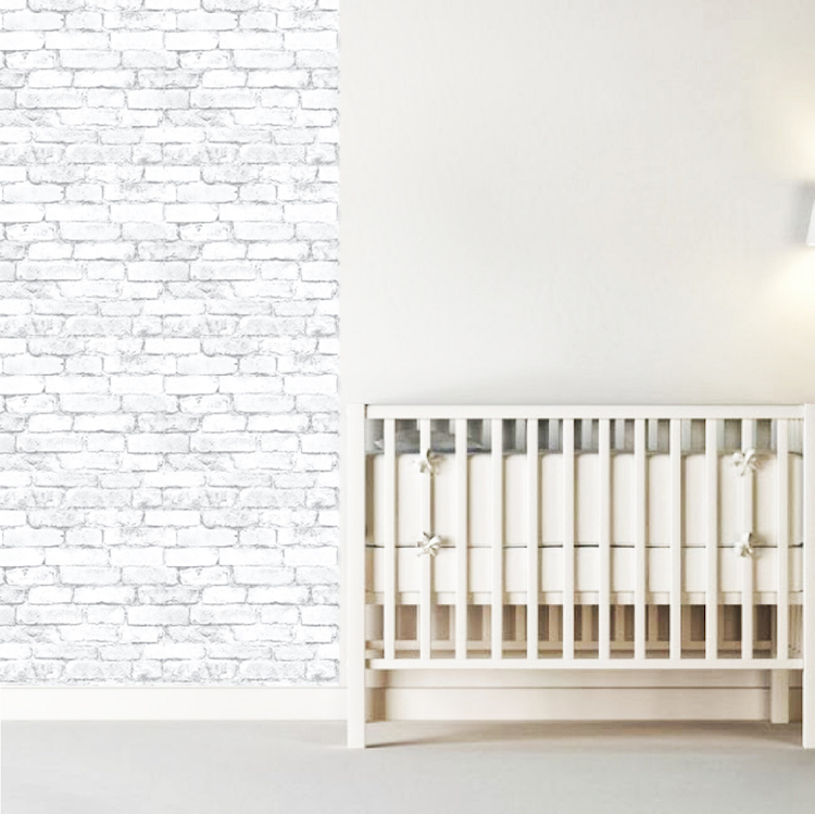 White brick wall mural for Brick wall decal mural