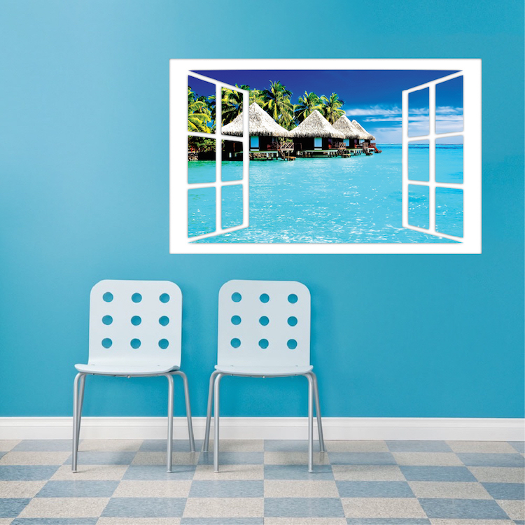 Ocean Wall Mural ocean hut wall mural decal - scenic wall decal murals - primedecals