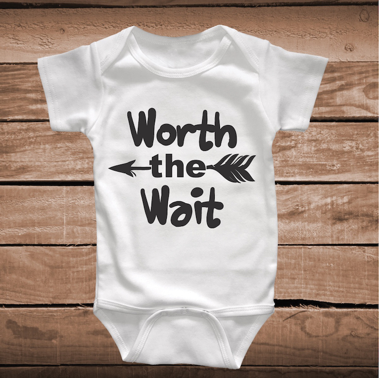 Worth The Wait Cute Baby Crawler _ Clever Sayings Onesies ...