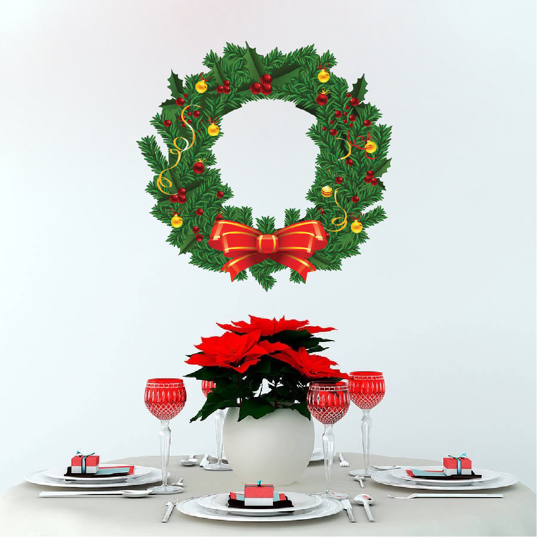 Christmas wreath wall decal mural christmas wreath wall for Christmas wall mural