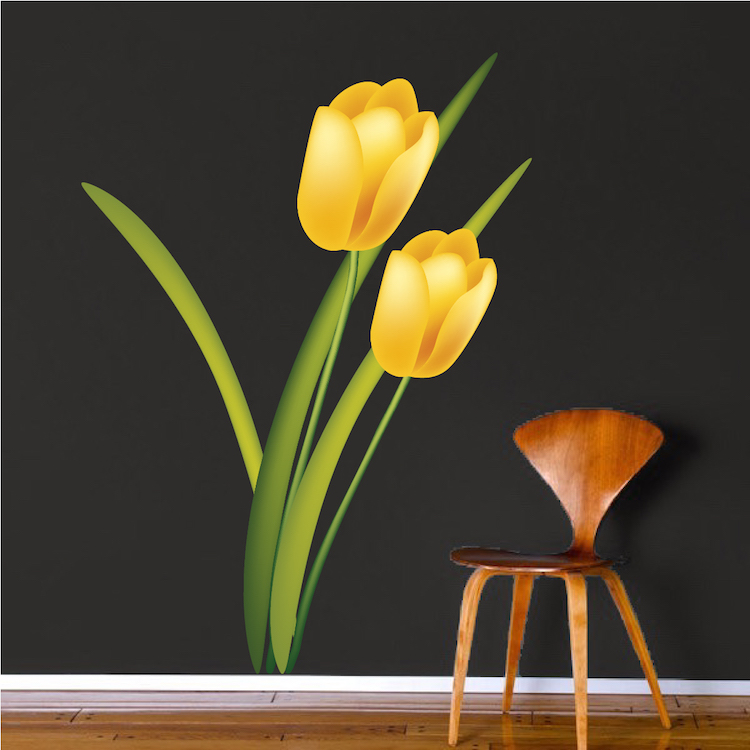 Yellow Tulip Mural Decal Flower Wall Decal Murals