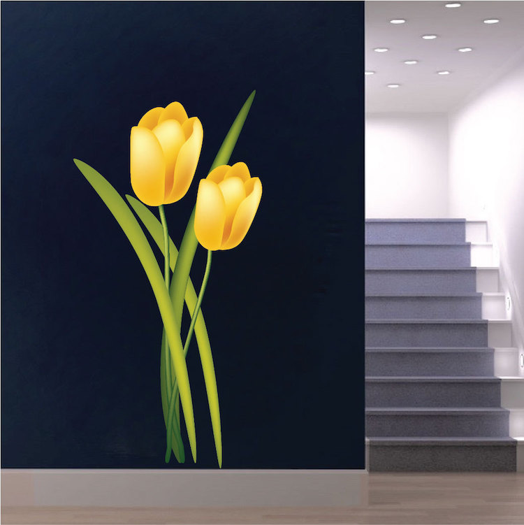 Yellow Tulip Mural Decal Flower Wall Decal Murals Primedecals - Yellow flower wall decals