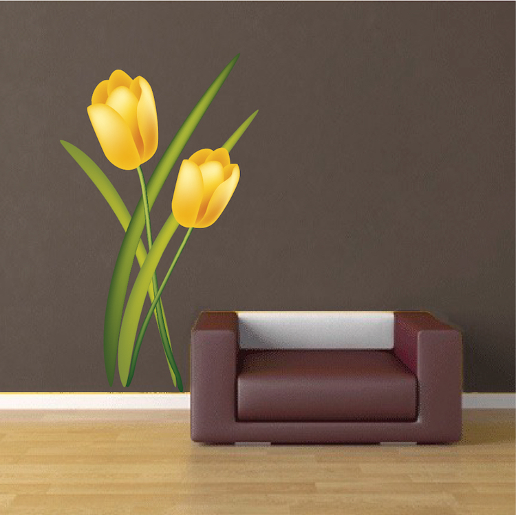 Yellow Tulip Mural Decal Flower Wall Decal Murals Primedecals - Yellow wall decals