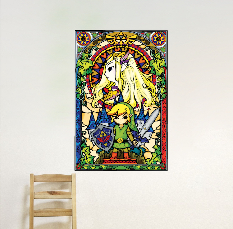 Home U003e Shop Wall Decals U003e Teens U003e Zelda Stained Glass Wall Mural Decal Part 43