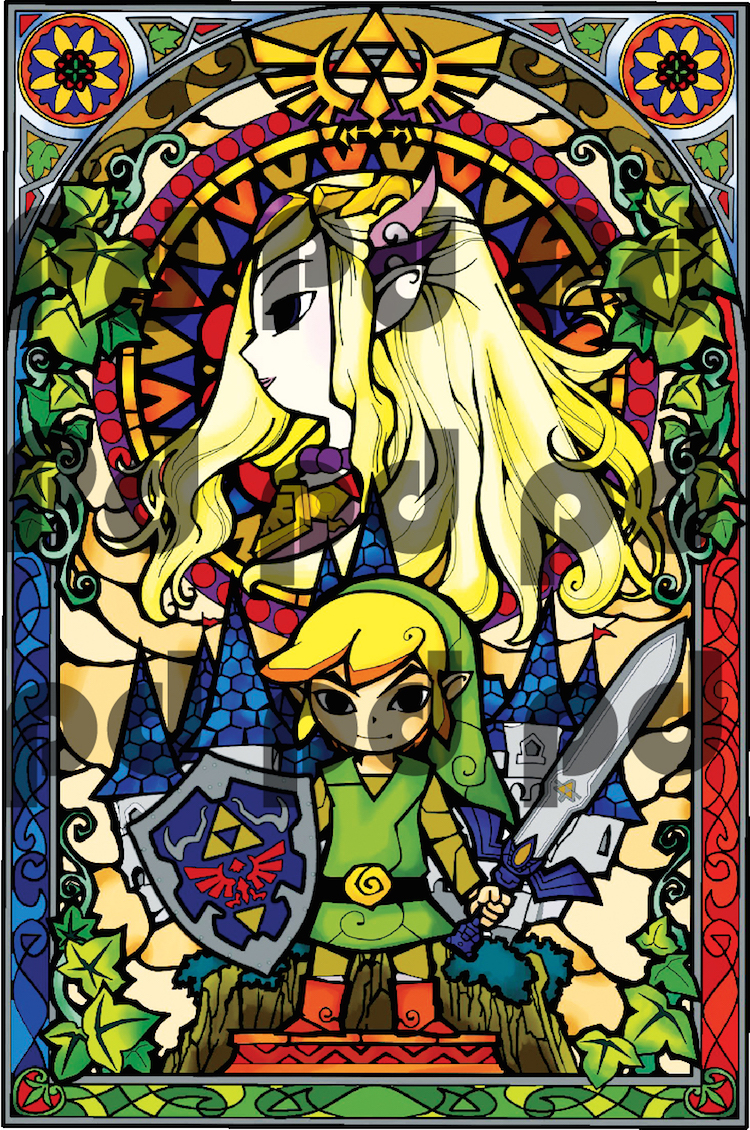 Zelda Stained Glass Wall Mural Decal - Zelda Video Game Bedroom Wall ...