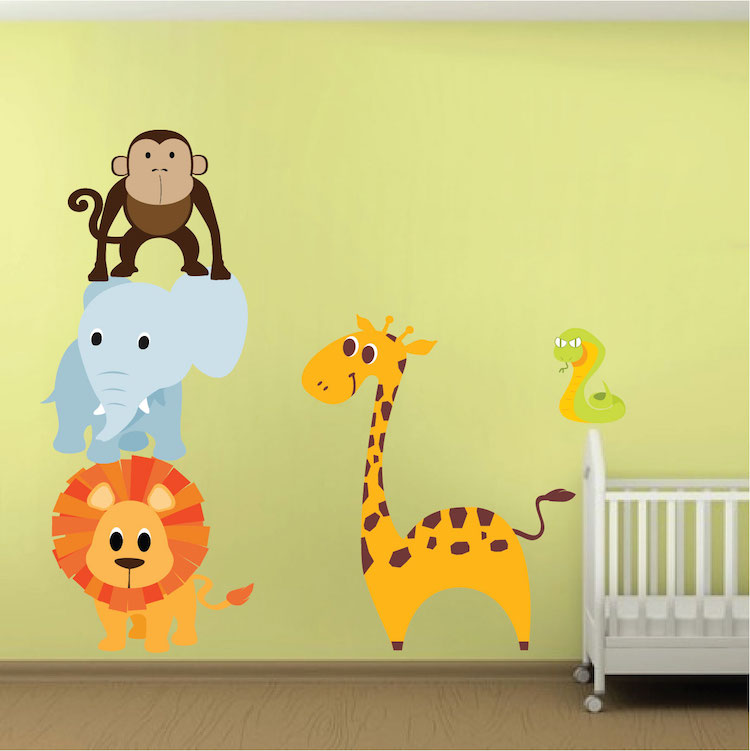 Nursery Zoo Animal Wall Mural Decals Part 56