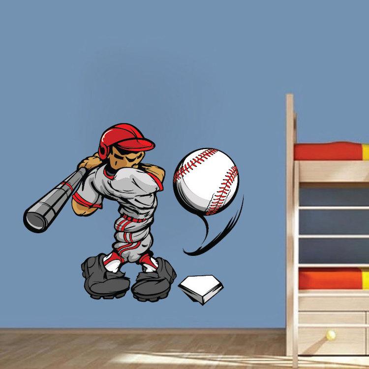 Baseball decal sports wall decal murals primedecals for Baseball wall mural