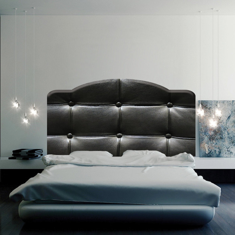 Black cushion headboard mural decal headboard wall decal for Black wall mural