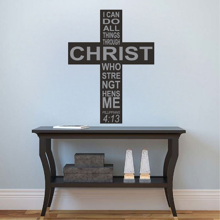 Philippians 4:13 Cross Wall Quote Decal Murals   Wall Quote Decals    Primedecals