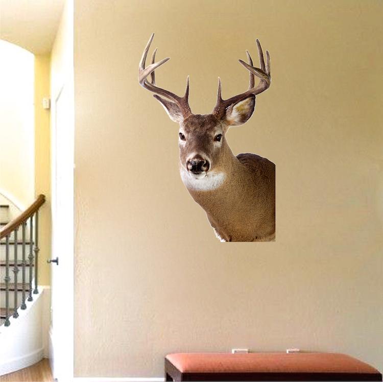 Deer head decal design wall murals primedecals for Deer mural decal