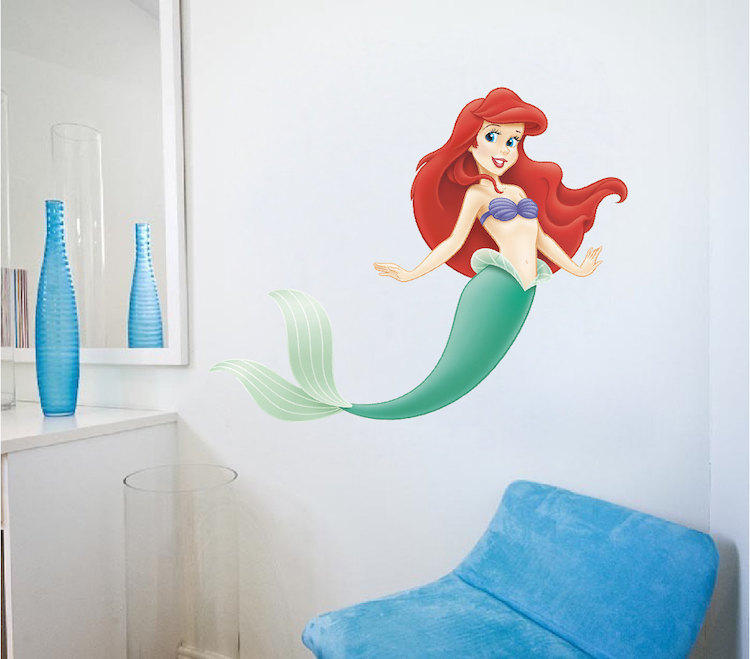 Little mermaid wall decals roselawnlutheran for Ariel wall mural