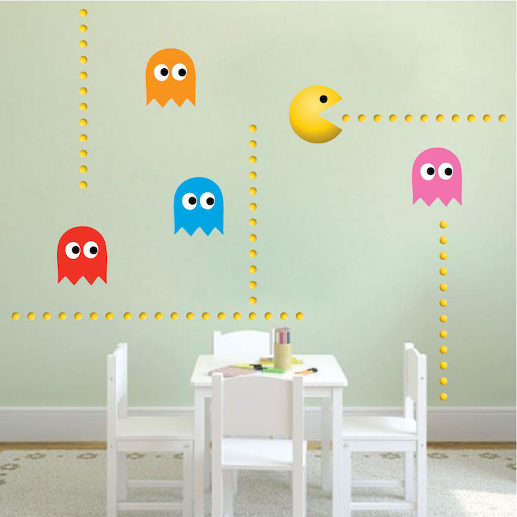 modern pac man wall decal video game wall decal murals official pac man wall stickers border giant wall