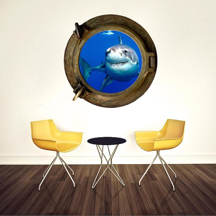 Shark Porthole Mural Decal Design Part 78