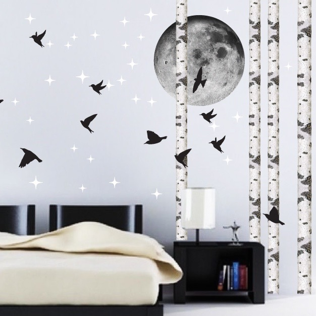 Birds Wallpaper Decal Sticker - Black Bird Decals - Bird Wall
