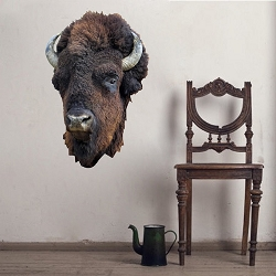 Bison Head Wall Mural Decal